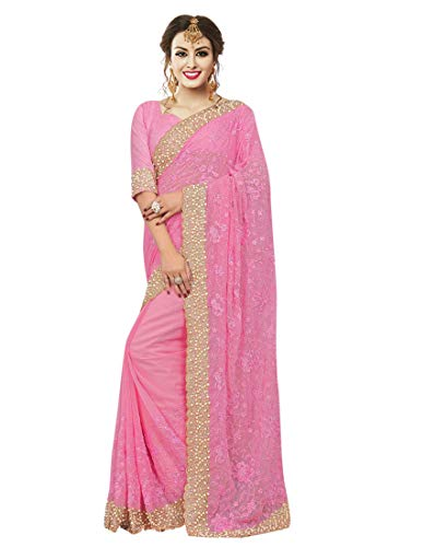 Arohi Designer Women's Embroidered Saree With Unstitched Blouse Piece