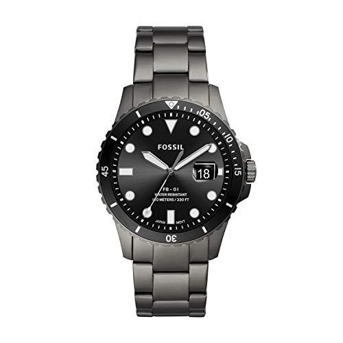 Fossil Men's FB-01 Quartz Watch with Stainless Steel Strap, Smoke, 22 (Model: FS5655)