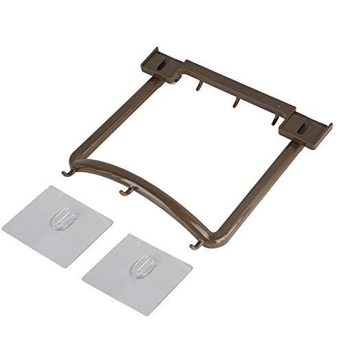 Gancho de parede de material ABS, suporte para lavatório, ganchos suspensos para lavatório Instalação sem pregos com adesivos anti-traço para prateleira de parede de cozinha(Brown)