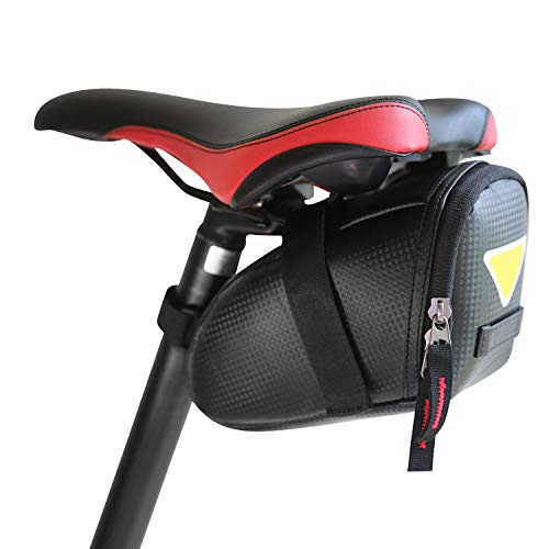 LandTrek Bike Saddle Bag Cycling bag – Strap on Bike Accessories Tool Bag, Specialized Saddle Bag for Mountain Road MTB Bike, Waterproof Bicycle Seat Bag with Black Carbon Textured Fabric