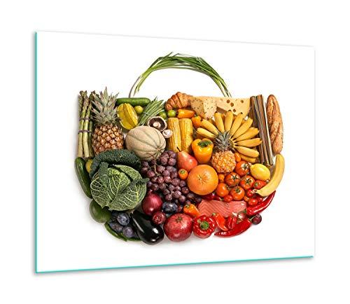 QTA | fornuisafdekplaat 60 x 52 cm keramische afdekking 1-delig universeel elekrofornuis inductie voor kookplaten fornuis spatbescherming snijplank witte groenten