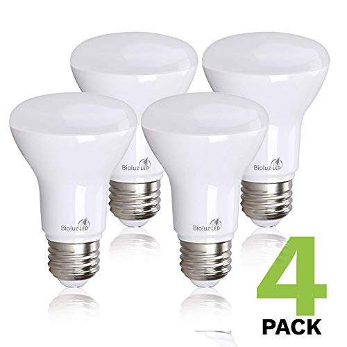 Bioluz LED Lights BR20 R20 Dimmable LED Light Bulbs 4 Pack - Flood Light Bulbs Indoor/Outdoor 7W=50W 500 Lumen E26 LED Bulb Replacement for Halogen Bulb - 3000K LED Bulb LED Flood Light Bulbs Indoor