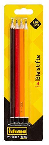 Idena 20004 - Bleistift, Härte H/HB/B/2H, FSC 100%, 4 Stück