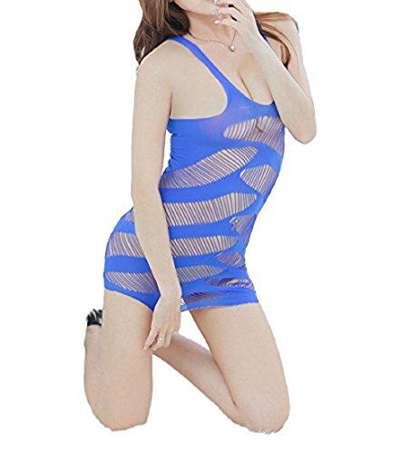 Sexy Fishnet Babydoll Lingerie Nightgown Dress Negligee Chemise Petites (XXS, Blue)