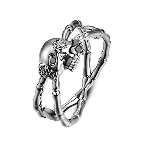 YAZILIND Halloween Ring 925 Sterling Silber Ringe Gothic Totenkopf Schwarz Zirkonia Party Schmuck Geschenk 16.6