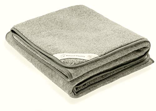 Zaloop 100prozent Schurwolle Merino Wolldecke Decke Wohndecke Bettdecke Tagesdecke Wolle (ca. 180 x 200 cm, Silbergrau)
