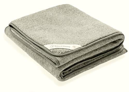 Zaloop 100% Schurwolle Merino Wolldecke Decke Wohndecke Bettdecke Tagesdecke Wolle (ca. 180 x 200 cm, Silbergrau)
