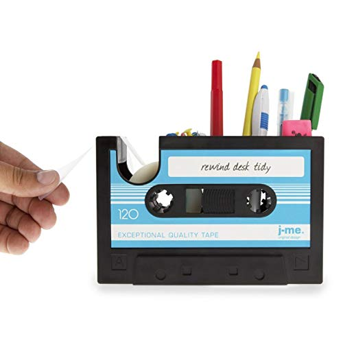Creative Tape Design Desktop Pen Houder Vaas Case, Retro Cassette Tape Dispenser Vaas Pot, Decoratieve Bureau Tidy Organizer Opslag, Office briefpapier Opslag Container- Uniek geschenk Blauw