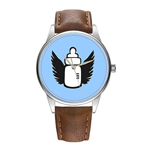 Herrenuhr braune Cortex Quarz-Uhr für Männer berühmte Armbanduhr Quarzuhr für Business-Geschenk Angel Babyflasche Uhr