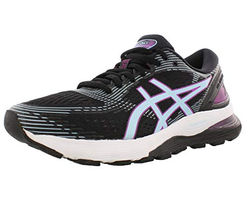 ASICS Women's Gel-Nimbus 21 Running Shoes, 9M, Black/Skylight