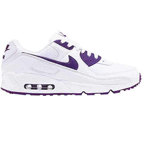 Nike Air MAX 90, Zapatillas para Correr para Hombre, White Voltage Purple Black, 45 EU