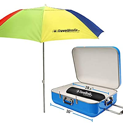 Travel Portable Beach Umbrella ? Compact Portable Sun Umbrella ? Fits in Your Suitcase - Carry Bag Included