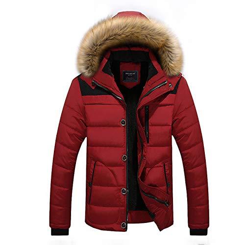 Elonglin Mens Winter Jacket Faux Fur Hood Windbreaker Cotton Padded Thicken Coat Red-B Asian 4XL