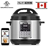 Sharff & Mueller Electric Pressure Cooker 6 Quart Stainless Steel, 12 in 1 Programmable Multipot, Slow Cooker, Auto Steam Release Button, Delayed Start, With Glass Lid, Free RecipeBook