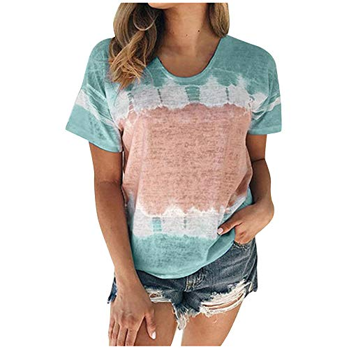 Aniywn Plus Size T-Shirt,Women Summer Casual O-Neck Short Sleeve Printing Patchwork Tunic Tops Basic Shirts Sky Blue