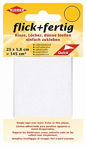Kleiber 43074 Flick + fertig Selbstklebender Nylon Ausbesserungsflicken, 100% Polyamid, weiß 25 x 5,8 x 0,02 cm, (145 cm²)