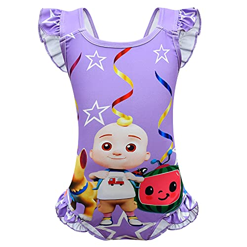 Coco-Melon Swimsuit for Girls 2t 3t Toddler Girl Cartoon Bathing Suit Kids Cute Swimwear Hawaii Beachwear Ruffle Swimming Suits Tropical Backless Sunsuit UPF 50+ Birthday Gifts Purple