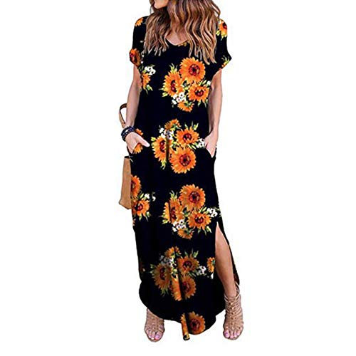 FHKGCD dam klänning plus size sommar kort ärm blommor maxikleid för lång klänning dam kläder, balck, XL