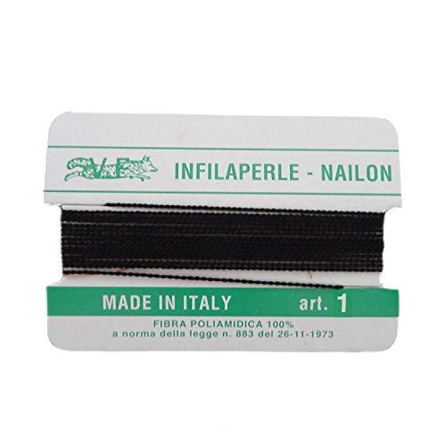 Filo infilaperle con ago colore nero in nylon per collane bracciali nailon varie misure (1 mm)