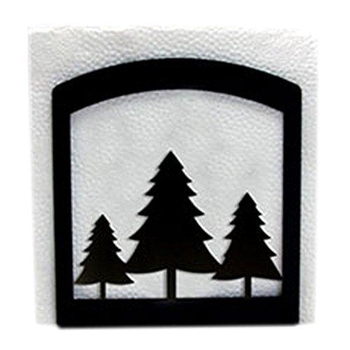 Village Fer forgé 15,2 cm Arbres de pin, Noir, Support pour Serviettes de Table