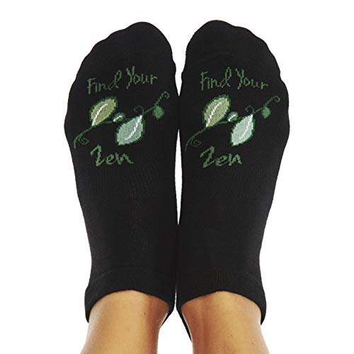"Toe Talk""Find Your Zen"" Non Slip Grip Sock for Yoga Pilates Barre Tai Chi Dance Meditation & Mindful Living"