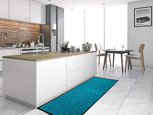 Primaflor - Ideen in Textil Küchenläufer Küchenvorleger Schmutzfangmatte CLEAN - Türkis, 60x180 cm, Küchenteppich Schmutzfangläufer