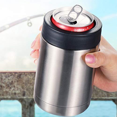 Danigrefinb Frasco de doble pared con aislamiento al vacío, botella de cerveza de 340 ml, soporte para latas de cerveza de 355 ml, color plateado