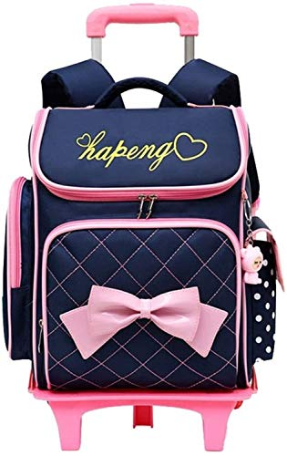 Best Gift Bookbag,Cute Print Bowknot Trolley Backpack Elementary Middle School, Size Name:Rolling Backpack with 2 Wheels,Colour Name:Rose Red-2 Wheels (Color : Deep Blue, Size : Backpack Only)