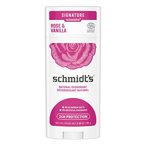 Schmidt's Aluminum Free Natural Deodorant for Women and Men, Rose & Vanilla with 24 Hour Odor Protection, Certified Natural, Vegan, Cruelty Free 3.25 oz