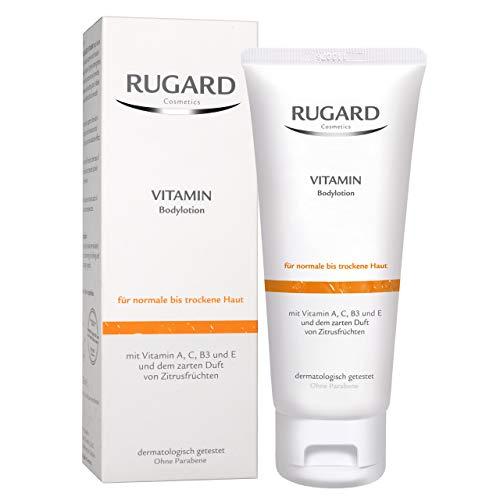RUGARD Vitamin Bodylotion: Feuchtigkeitsspendende Körperpflege für trockene Haut mit Avocadoöl und Sheabutter, 200ml