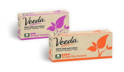 Veeda 100% Natural Cotton Applicator Free Tampons Super Absorbent Comfort Digital Super & Super Plus Tampons Chlorine Toxin and Pesticide Free, 1 Box of 16 Count Each