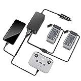 Linghuang Cargador de Coche para dji Mavic Air 2/ Mavic Air 2S Cargador Inteligente con 2 Puertos de Carga de Batería para Control Remoto y Teléfono + 1 Cable de Carga para 2 Baterías