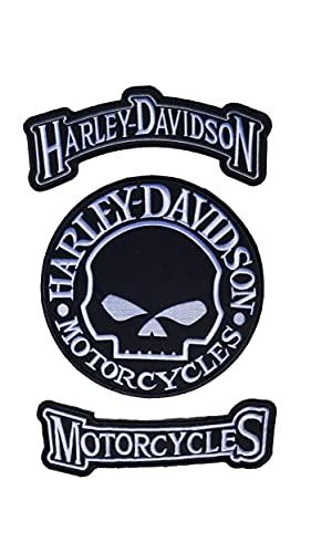 Harley Davidson Lot de 3 patchs à coudre ou à repasser Motif tête de mort circulaire