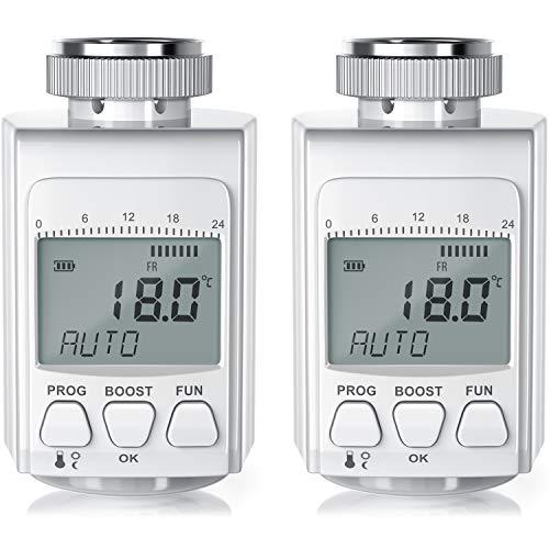 CSL - 2 x digitales Heizkörperthermostat - bis zu 30{4ad13d7abfa3d38660557172a6b413b73bb83d449a5f09a83508cfff6ecd7351} Heizkosten Ersparnis - Radiator Thermostat Regler - intelligenter Eco Boost-Modus