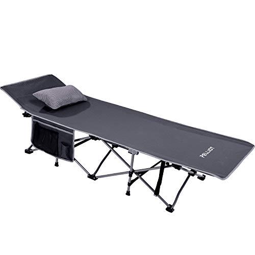 PELLIOT Cama para Camping Plegble Cama de Campaña Portátil de 190 x 70 x 45 cm Metal Tubo – Soporta hasta 240 kg (Gris)