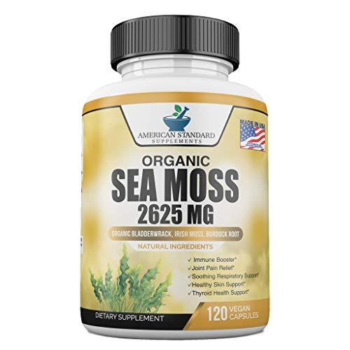 Organic Sea Moss 2625mg, Maine USA Hand Harvested, Irish Moss Bladderwrack and Burdock Root, Sea Moss Capsules, SeaMoss, Irish Sea Moss Alternative To Sea Moss Powder, Sea Moss Gel, 120 Vegan Capsules