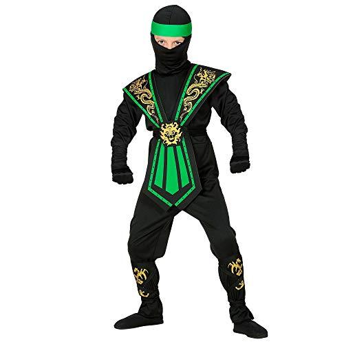 WIDMANN Disfraz infantil de ninja con juego de armas, negro y verde, luchador, guerrero, Japn, fiesta temtica, carnaval, 38515
