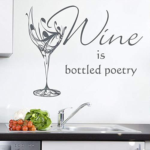 jtxqe Symbol Wandaufkleber-Wein Ist Abgefüllte Poesie Selbstklebendes Vinyl Restaurant Shop Zeichen Logo Kuchen Design Wandtattoo Kunst Dekoration Shop 72X56Cm