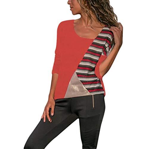 Haut Chic, YUYOUG Chemisiers Femme Mode Casual Patchwork Rayé O-Cou à Manches Longues T-Shirt Blouse Tops Sportifs décontractés (Small, Orange)