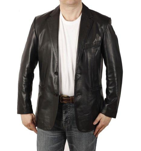 Simons Leather Blazer homme en cuir noir semi-ajusté - Taille L