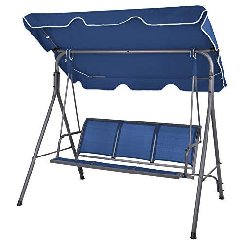 Montafox 3-Sitzer Hollywoodschaukel mit abnehmbarem und neigbarem Sonnendach Gartenschaukel für 3 Personen belastbar bis 250 kg, Farbe:Nachtblau