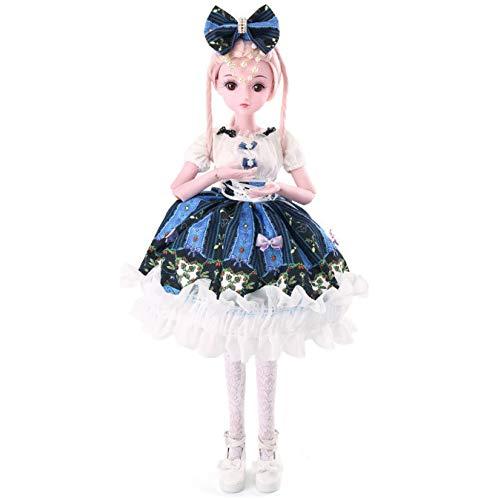 YIHANGG 1/3 Ball Jointed Doll Wear Dunkelblaues Ballkleid Bowknot Hair Hoop 24 Zoll 60 cm BJD Begleiten Sie Kinder DIY Spielzeug Mit Kleidung Outfit Schuhe Perücke Haar Set