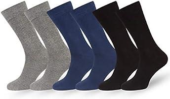 Easton Marlowe Calcetines Hombre Mujer 6 Pares Calcetines Lisos Muchos Colores Algodón Peinado Negro Azul Gris Marron Beige