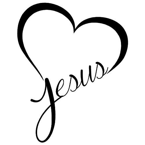 T-JPCT Autocollants côté Voiture Autocollant de Voiture Autocollant de Voiture réfléchissant Christ Jesus Love JesueHeart, Black