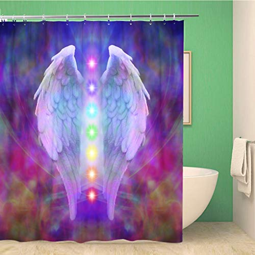 Aowced 66x72 Inches Shower Curtain Reiki Angel Wings and Seven Chakras on Colorful Soul Waterproof Polyester Fabric Bath Bathroom Curtain Set with Hooks