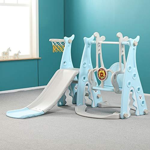 GLY Toboganes Infantiles Columpios Infantiles Exterior For Niños Pequeños, Juego De Tobogán Trepador 3 En 1 con Aro De Baloncesto Y Columpio, Escaleras Fáciles De Subir, Juego De Juegos For Niños