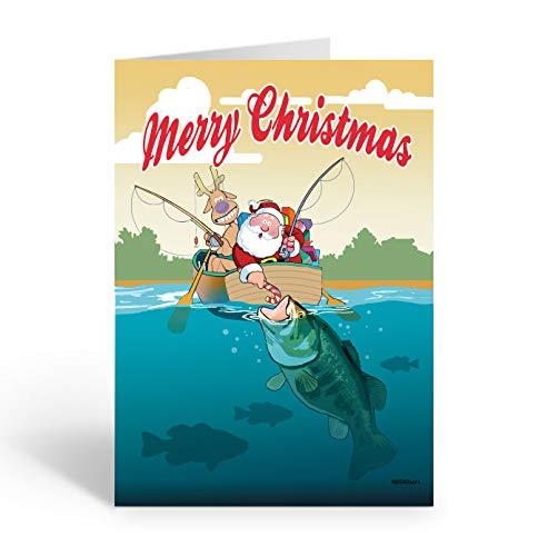 Santa & Bass Fish Theme Christmas Card 18 Cards and Envelopes