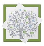 Impostare: 20+20 Tovaglioli Albero Vita Verde Grigio Blu Decorazione Tavolo Feste Cresima Comunione Battesimo