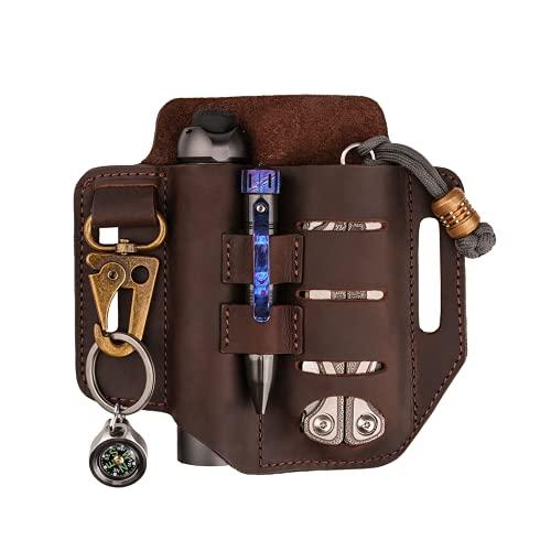 VIPERADE PJ13 Plus Multitool Sheath for Belt, EDC Pocket Organizer for Men, Leather Pouch with Keychain, Flashlight Holder, Pen Holder, Tools Sheath Knife Sheath for Leatherman-Brown