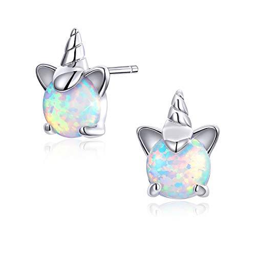 Pendientes de unicornio para niñas Pendientes de ópalo hipoalergénicos de plata esterlina para mujeres y niñas Regalos Unicornio